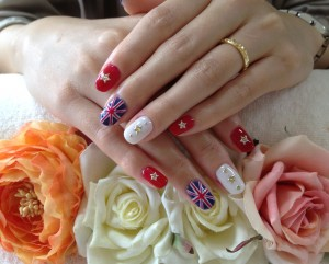 Japanese nail art with flags
