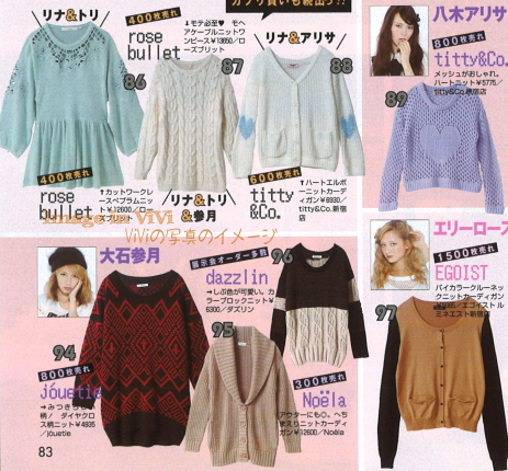 Japanese fashion trend / Top seller knits from ViVi