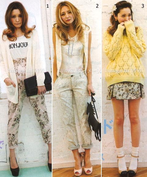 Japanese fashion trend / floral prints, jacquard fabrics, lace pant