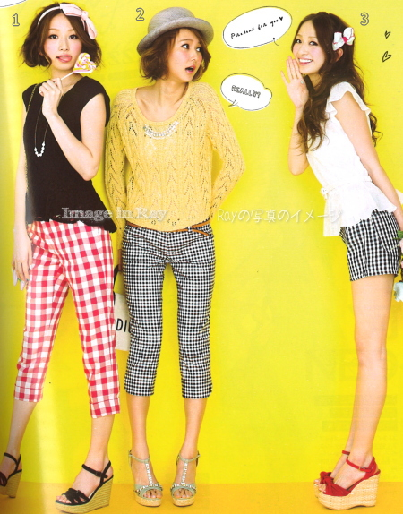Japanese fashion trend/gingham check pants